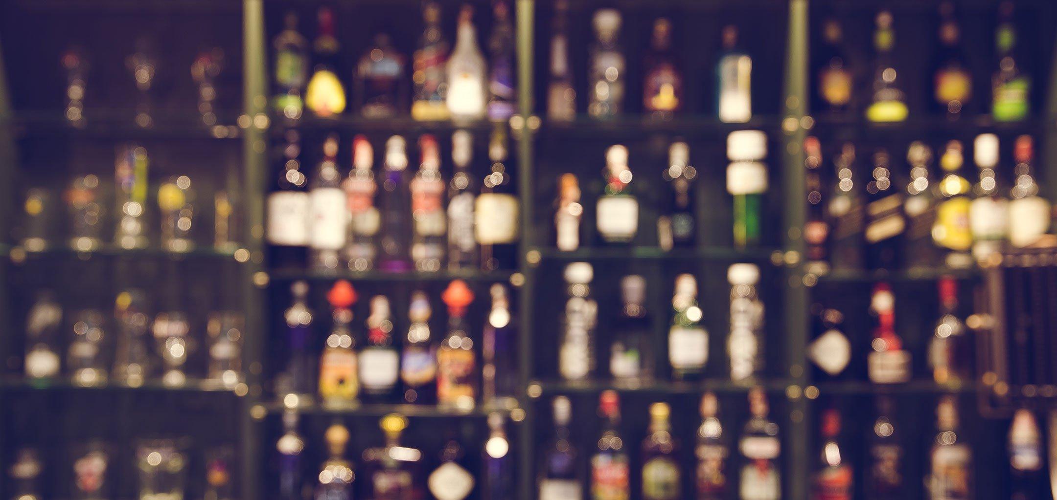 blurred bar shelf